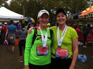 Bling and beer at the finish. Good times to be shared with a Step Sister!
