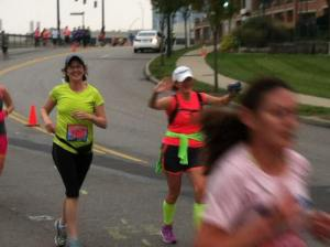 Having fun at mile 5.