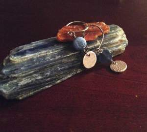 Small things I treasure: Blue Kyanite from The Crystal Guy, orange Kyanite from sweet friends, Dennis and Rainie, earrings designed by Teresa Yee.